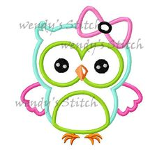 Girl owl with bow applique machine embroidery design