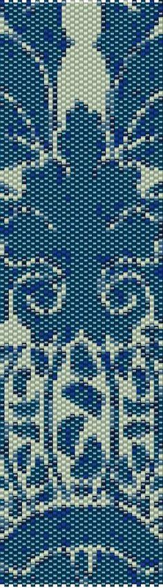 Blue Tapestry Peyote Cuff Beaded Bracelet por RubyDsArtandJewelry