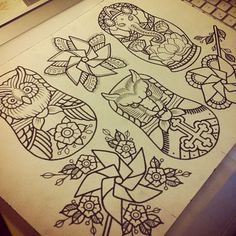 Super cool nesting dolls, love the owl one. That is absolutely going to be going on my arm.