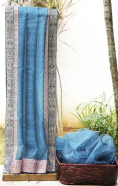 Lakshmi Handwoven Embroiderd Organza Sari 000296 - Sari / All Saris - Parisera