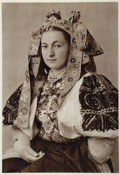 Beautiful bridal costume of Ocova, Slovakia Bride from village Očová… Folk Costume, Costumes, Folk Dance, Bratislava, People Of The World, World Cultures, Fashion History, Traditional Dresses, Vintage Photos