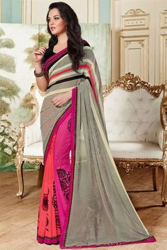 Attractive Red And Pink Color Printed Saree