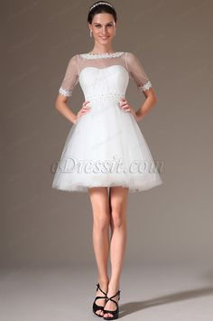 eDressit 2014 New Lace Neckline Short Wedding Dress (01140107) #wedding dress #fashion dress #reception dress