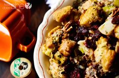 Cranberry Asian Pear Stuffing howdoesshe.com #stuffing