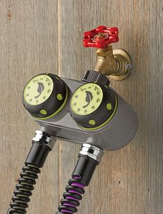 Dual Manual Water Timer. Save time and water! This easy-to-use manual water timer lets you water two zones from one faucet. Simply turn each knob to set the watering time and the water shuts off automatically.