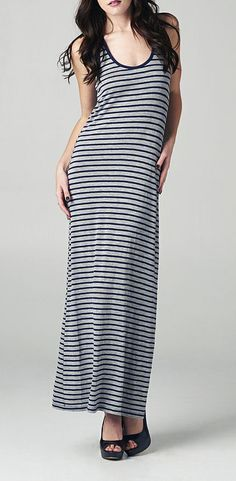 Black & Gray Stripe Maxi Dress.. love maxi dresses all of a sudden.  And look!  This one is grey and black and striped, my fave things...
