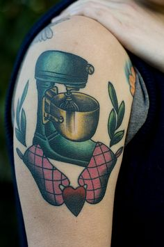 Love that they used an actual lift stand instead of a tilt head mixer!!   silje hagland, scapegoat tattoo. portland, oregon