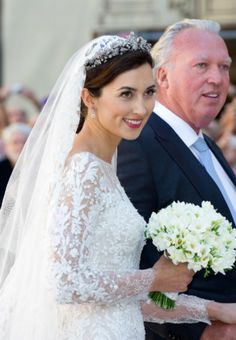 Claire Lademacher and her father Hartmut Lademacher - Claire wed Prince Felix of Luxembourg at the Basilique Sainte Marie-Madeleine - St. Maximin, France - 21st Sept 2013