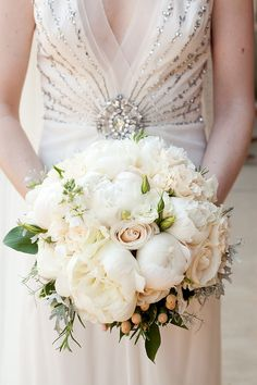 Blush Pink Rose & White Peony Bouquet - On SMP: http://www.StyleMePretty.com/2012/10/22/chapel-hill-wedding-from-a-southern-soiree/ Floral Design: TreBellaFlowers.com    Robin Lin Photography - robinlin.com/blog