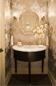 Gluckstein Designs  Pretty powder room with metallic chinoiserie wall paper, octagonal ...
