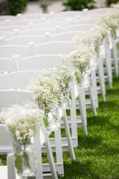 Simple outdoor wedding ceremony decor idea - baby's breath aisle markers {Maine Tinker}