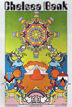 "1971 Poster Advertisement  ""Chelsea National Bank""  Artist / Advertising Agency: Peter Max  USA"
