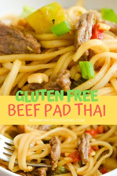 Make a great dinner with this Easy Beef Pad Thai. This pad thai recipe can also be made gluten-free and uses skirt steak. It's the perfect recipe for the whole family or for an at-home date night. Thai Recipes, Easy Dinner Recipes, Beef Recipes, Easy Meals, Lunch Recipes, Gluten Free Soy Sauce, Gluten Free Recipes, Gluten Free Lasagna