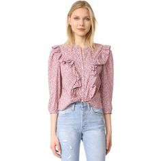 La Vie Rebecca Taylor Meadow Flower Top ($195) ❤ liked on Polyvore featuring tops, blouses, rose, three quarter sleeve blouses, three quarter sleeve tops, 3/4 sleeve tops, frilly blouse and flounce tops
