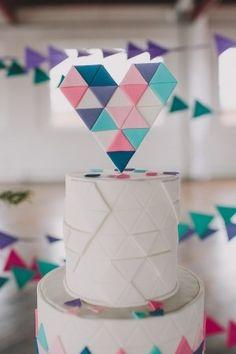 Geometric Cake, Geometric Heart, Geometric Wedding, Geometric Shapes, Beautiful Cake Designs, Beautiful Cakes, Wedding Desserts, Wedding Cakes, October Wedding