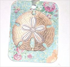 CO453 Irridescent  Shabby Cottage Seashell Sandollar by SiriusFun, $5.70