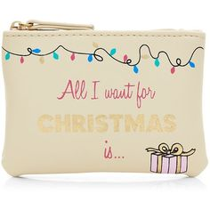 Stone All I Want For Christmas Coin Purse (€2,04) ❤ liked on Polyvore featuring bags, wallets, clutches, zip top bag, change purse, coin pouch, beige bag and beige wallet
