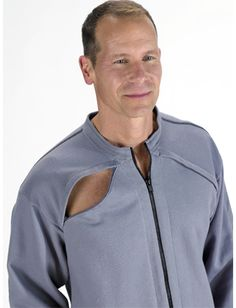 Mens or Women's Jacket has port openings for your treatment on both sides of the chest AND both arms for interchangeable access to your port for dialysis/chemo/infusions/transfusions!