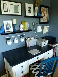 office --- kids craft table. Love the shelves to display kids art and like idea of pen holder