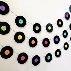 Music Garland - Party Decor - Music Decor - records - Photo Prop - Music Teacher Gift -Record Garland Record Garland Got a music lover in your life? Combine this record garland with one of my piano garlands for the ultimate music geek's party. Decoration Disco, 50s Party Decorations, 50s Theme Parties, Dance Decorations, Party Themes, Music Themed Parties, Mouse Parties, Grease Party, Beatles Party
