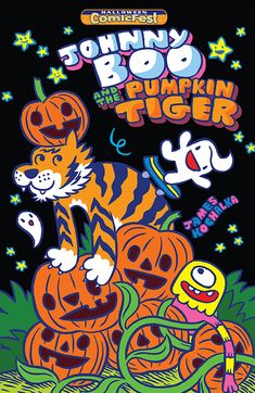 Johnny Boo and his friends celebrate Halloween by doing skateboard tricks in the pumpkin patch. But did you know that giant tigers love Halloween just as much as little ghosts do? It's because they're orange, like pumpkins. Watch out for tigers, Johnny Boo!