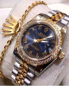 #BlackandGold Men's Rolex Luxury Watch @PharaohsLegacy and Rolex's Crown Symbol, Gold Bracelet