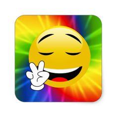 #Tie Dye Peace Sign Smiley Emoji Stickers - #emoji #emojis #smiley #smilies