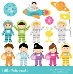 Digital Clipart Little Astronaut for by funkymushrooms on Etsy, €3.20