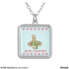 Be My Valentine Square Pendant Necklace