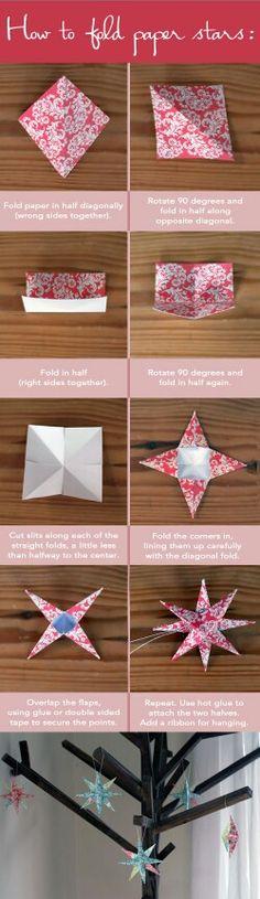 Hur du viker en pappersstjärna. OBS - instruktioner på engelska.
