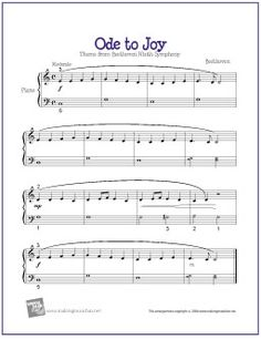 Ode to Joy by Ludwig van Beethoven  | Sheet Music for Easy/Level 2 Piano Solo http://makingmusicfun.net/htm/f_printit_free_printable_sheet_music/ode-to-joy.htm