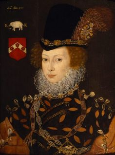Portrait of Elizabeth Knollys, Lady Leighton, attributed to George Gower, 1577.  This lady, a first cousin once removed of Queen Elizabeth, was the sister of Lettice Knollys. She served as one of Elizabeth's Gentlewomen of the Privy Chamber.