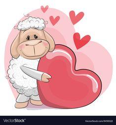 Sheep with heart vector Sheep Vector, Owl Vector, Funny Sheep, Cute Sheep, Cartoon Drawings, Cute Drawings, Tattoo Painting, Cartoon Monkey, Cartoon Chicken
