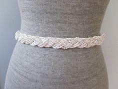 Pearl braid Beaded Sash / belt Ivory or White by allforloveLOVE, $45.00