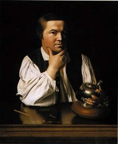 Paul Revere caressing a teapot and reflecting.
