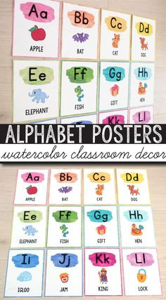 FREE Alphabet Posters - Print & Cursive - Watercolor Classroom Decor check this free classroom decor printable posters for back to school. Your students will love these fun and colorful posters. Looking for classroom set up ideas? These free watercolor alphabet posters are the perfect addition to your organized preschool (pre k) kindergarten or 1st grade (first grade) classroom.  #freeclassroomdecor #watercolorclassroomdecor #brightclassroom #classroomsetup