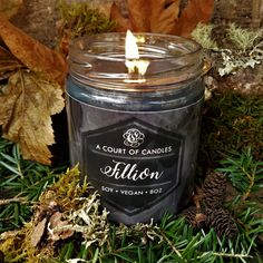 These candles are SO beautiful! Fillion's candle is solid black and scented with tobacco, cedar, rain, and whiskey! :D And, gawd, it smells soooooo good! #books #YA #YAbooks #bookcandles #candles #storycandles #charactercandles #characters