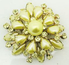 VTG Large CATHE Yellow Faux Pearl Rhinestone Easter Flower Pin Brooch Starburst #cathe