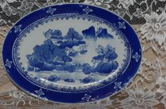 Vintage Flo Blue Platter Round circa 1940's  by SuzsCollectibles, $30.00