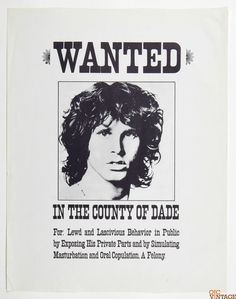 Jim Morrison Wanted In The County of Dade 1974 Poster 17.5 x 22.5