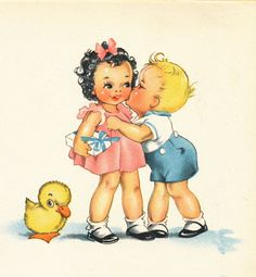 Illustration from vintage baby book