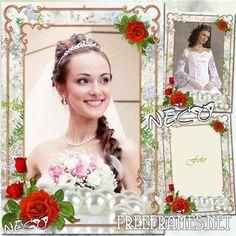 Free Elegant wedding frame with red