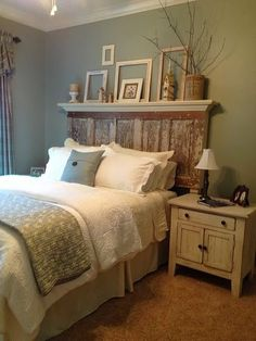 Love this vintage door repurposed as a headboard!!! Bebe'!!! Love the addition of the display shelf at the top of the headboard!!!