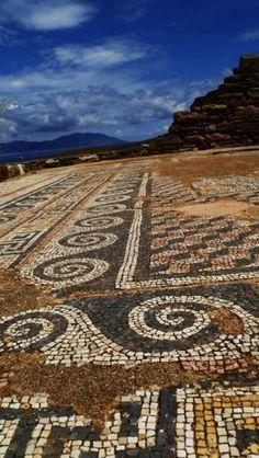 Ancient Greek mosaic in Delos island, near Mykonos island, Cyclades, Greece Delos Greece, Greece Art, Ancient Greek Art, Ancient Greece, Mosaic Garden, Mosaic Art, Mosaics, Greek Sites, Crete Holiday