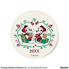It's time to share the warmth of the holidays with Mickey and Minnie in this vintage cozy Christmas graphic. Size: inch (sheet of Gender: unisex. Mickey Christmas, Christmas Stickers, Cozy Christmas, Vintage Mickey, Mickey Minnie Mouse, Disney Mickey, Mickey And Friends, Winter Theme, White Elephant Gifts