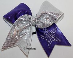 Hollywood Superstar Glitz - NEW for 2013 - SUPER glitzy cheer / cheerleading bow with rhinestone star and sequins - By FunBows