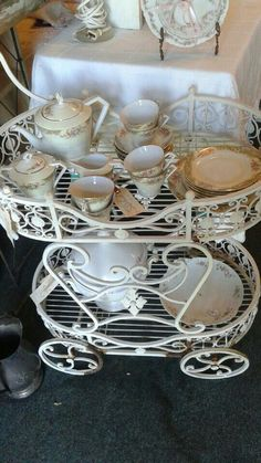 Vintage tea trolley and tea set with serving tray and soup tureen! All in exquisite shape!
