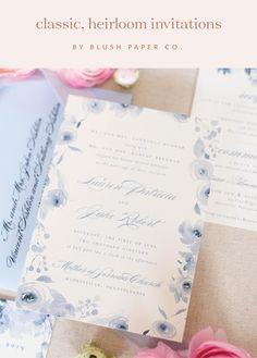 Classic Heirloom Wedding Invitations #weddingmonogram #weddinginvitations #weddinginvites #floralinvite #dustyblue
