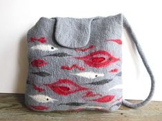 Felted bag hand felted wool tote bag purse unique ♡ by Dagneart, $98.00
