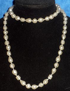 Jewelry White Faux Pearl Necklace (plastic)  Knotted Between Unusal Shapes  B2 #Unbranded #StrandString
